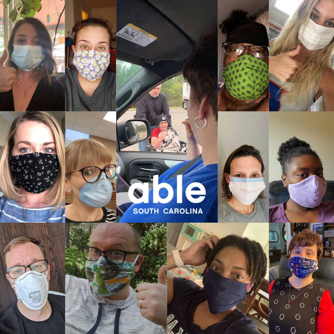"""Collage of people wearing masks with able sc logo in center"""